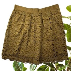 WITCHERY Size 12 Ladies Bronze A-Line Lace Skirt